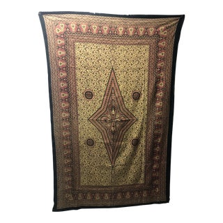 """Vintage """"Kalamkari"""" Hand-Blocked Red and Gold Cloth. For Sale"""