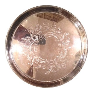 Vintage Towle Embossed Silver Plate Tray For Sale