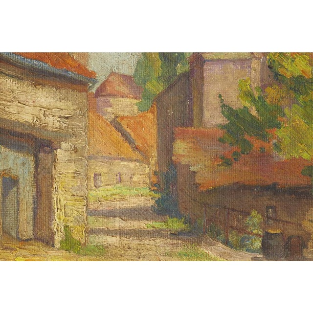 Mid-Century French Village Impressionist Painting - Image 4 of 6