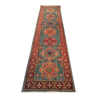 1970s Vintage Wool Pile Kazak Runner Rug - 2′9″ × 9′9″ For Sale