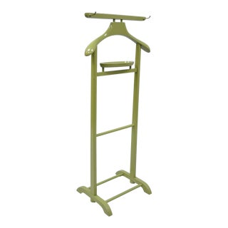 Vintage Green Mid Century Modern Wood Clothing Valet Rack Stand Clothes Suit Hanger For Sale