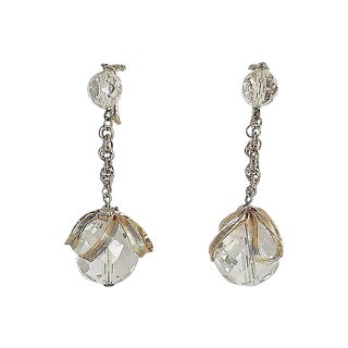 1950s Napier Faceted Glass Drop Earrings For Sale