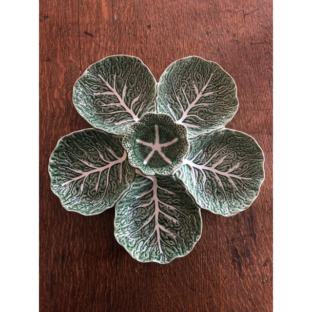 Ceramic 1960s Majolica Cabbage Leaf Relish Tray by Bordallo Pinhiero of Portugal For Sale - Image 7 of 7
