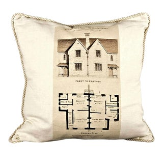 Design for a Pair of Modern Cottages Architecture Linen Pillow For Sale
