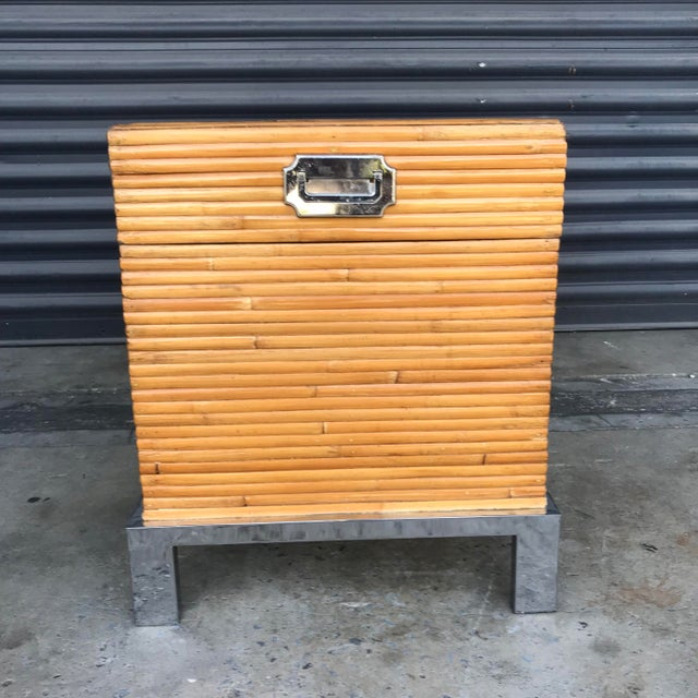Vintage Split Reed Bamboo and Chrome Trunk For Sale In Tampa - Image 6 of 13