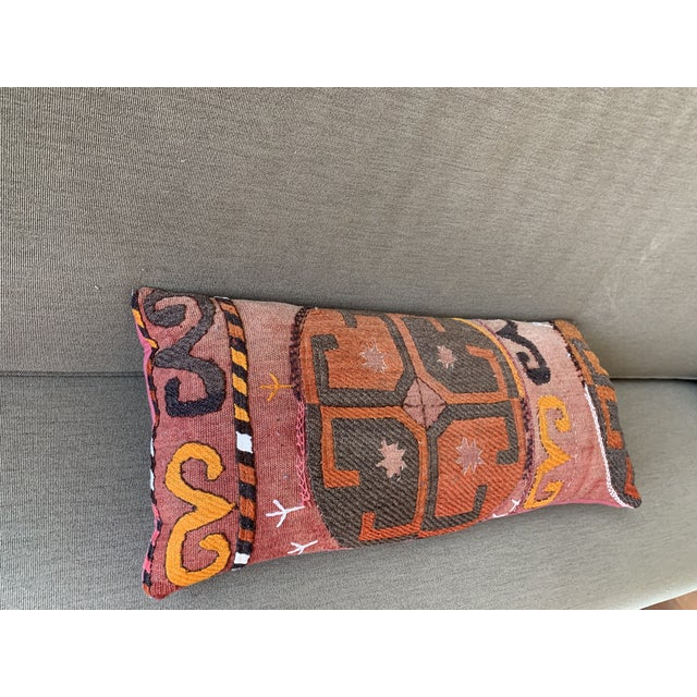 Oblong Pillow Cut From Handmade Antique Rug 3 Available For Sale - Image 4 of 9