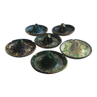 1950s Vintage Stackable Clay Sombrero Ashtrays - Set of 6 For Sale