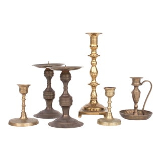 20th Century American Classical Assorted Brass Candle Holders - Set of 6
