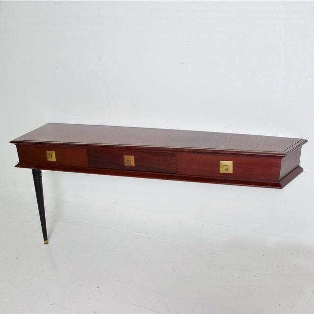 Hollywood Regency Mid Century Mexican Modernist Console Table Wall Desk Robert & Mito Block For Sale - Image 3 of 10