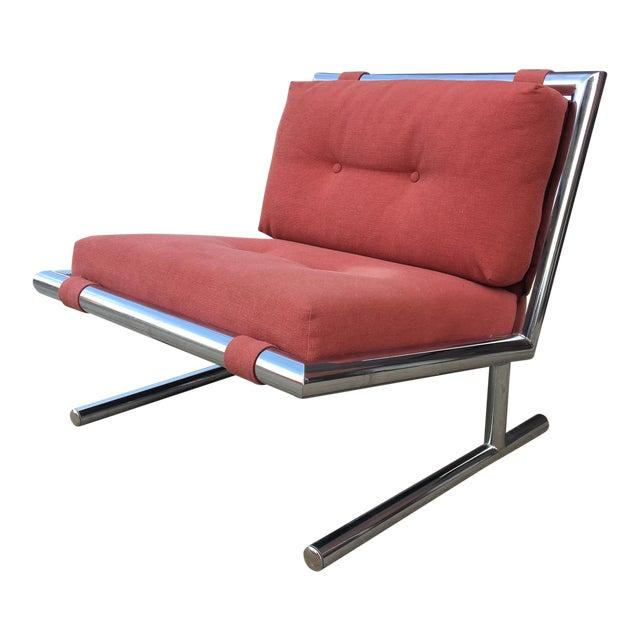 Arthur Umanoff Mid-Century Modern Chrome Cantilevered Sled Chair For Sale