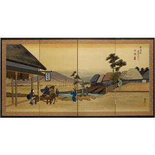 Showa Era Japanese Silk Screen of Hiroshige Totsuka Scene For Sale
