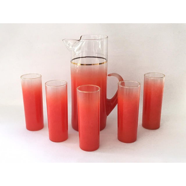 Blendo Glass Pitcher Set With 5 Tom Collins Glasses in Rare Red - Image 2 of 7