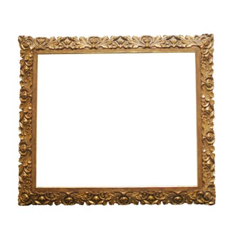19th Century Carved Giltwood & Gesso Baroque Frame For Sale