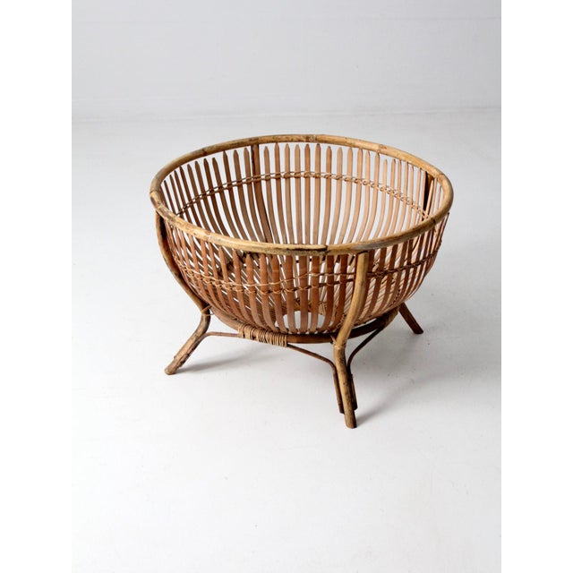 Mid-Century Rattan Basket For Sale - Image 10 of 13