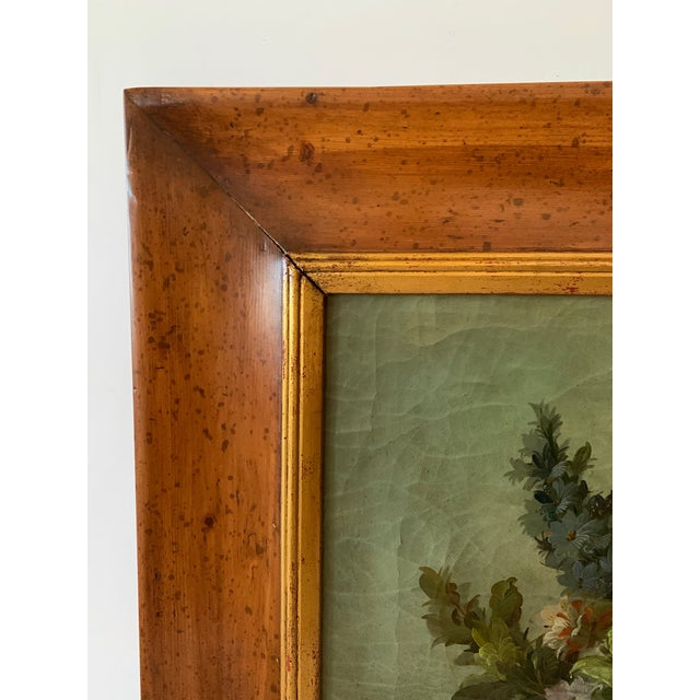 Still Life of Flower and Doves in Amazing Oak Frame For Sale - Image 10 of 13