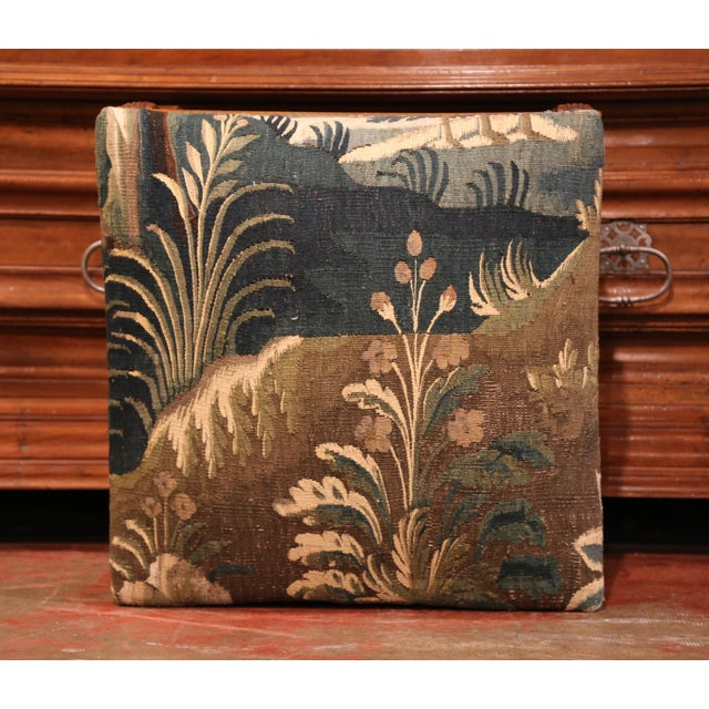 French 19th Century French Louis XIII Carved Walnut Stool and Verdure Aubusson Tapestry For Sale - Image 3 of 11