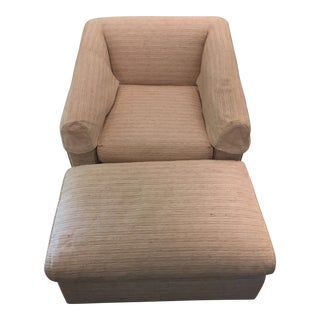 Modern Beige Upholstered Armchair & Ottoman - 2 Pieces For Sale