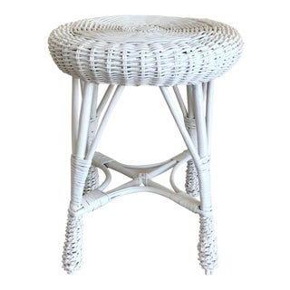 Vintage White Wicker Stool For Sale
