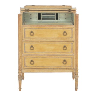 Circa 1940s French Louis XVI Style Antique Painted Desk Over Chest of Drawers For Sale