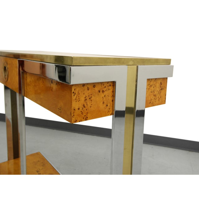Willy Rizzo Mid-Century Italian Burl Wood Console - Image 6 of 8