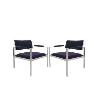 Mid Century Harvey Probber Aluminum Frame Mohair Lounge Chairs- a Pair For Sale