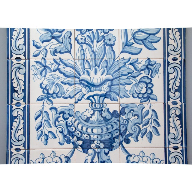 French Country Large Vintage Dutch Delft Floral Tile Wall Mural For Sale - Image 3 of 7