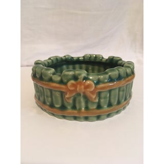 Vintage Faux Bamboo Green Ceramic Ashtray Preview