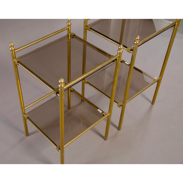 French Pair of Mid-Century Brass and Glass Side Tables For Sale - Image 3 of 10
