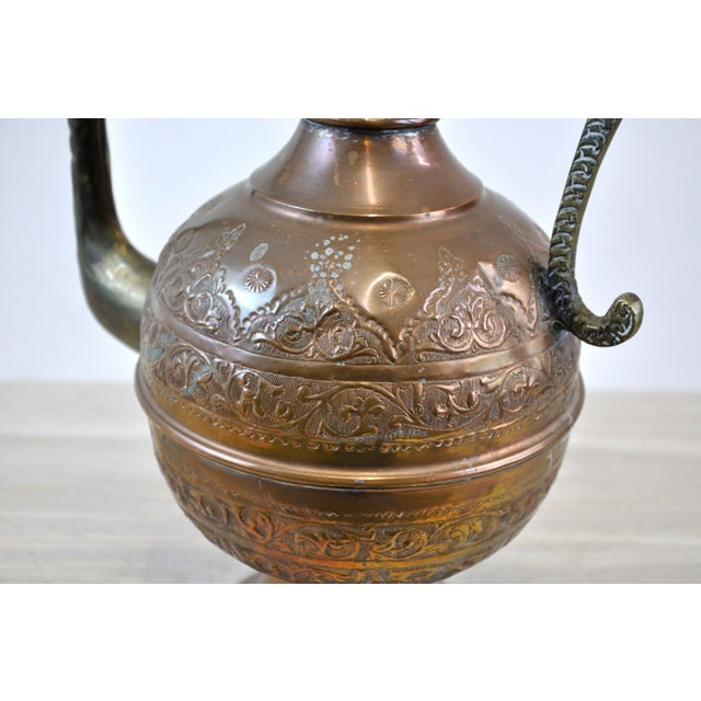 Copper Antique 19th C. Middle Eastern Tinned Copper Ewer For Sale - Image 8 of 11