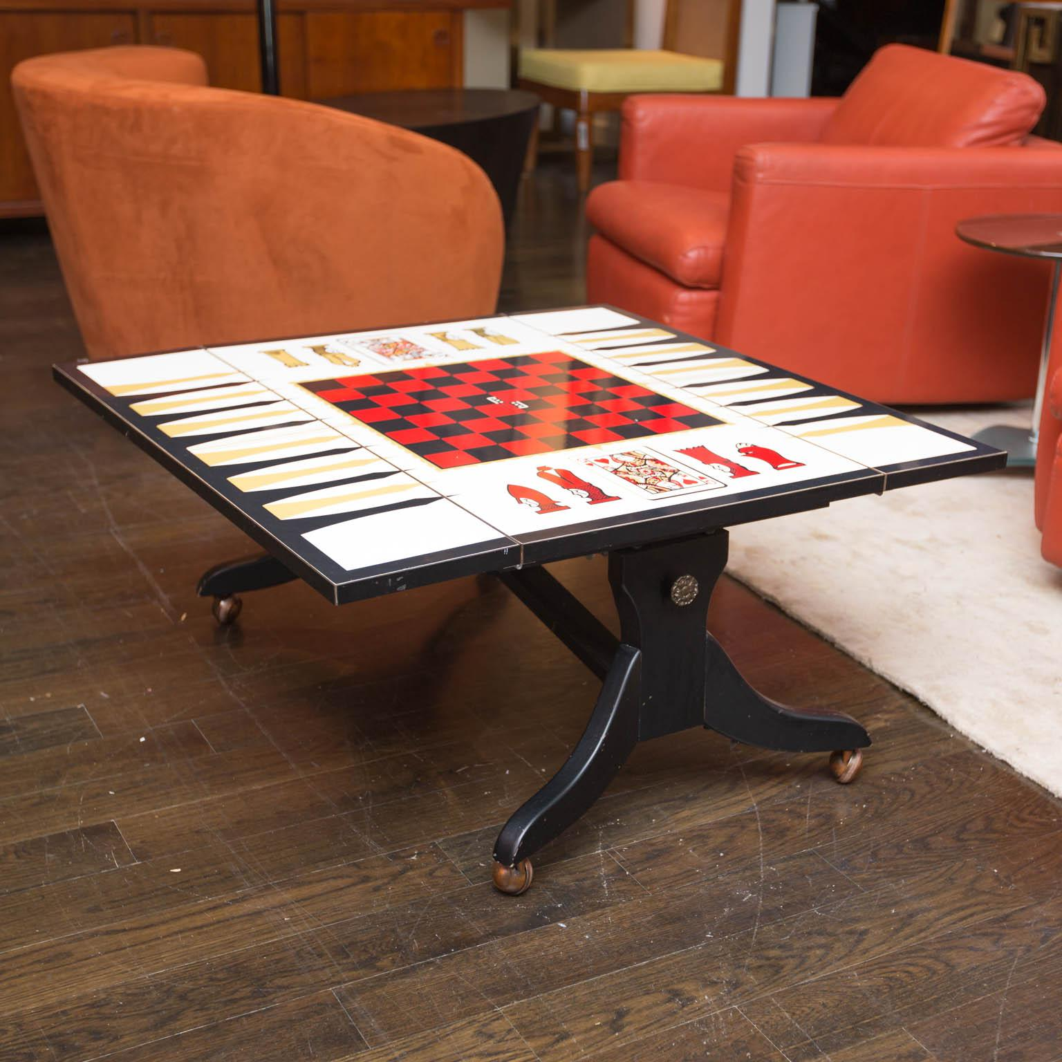 Mid-Century Chess Backgammon Game Table Or Coffee Table