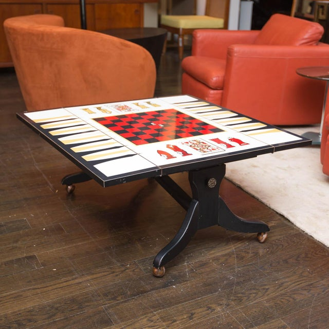 mid century chess backgammon game table or coffee table. Black Bedroom Furniture Sets. Home Design Ideas