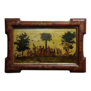 17th Century Chinoiserie Oil Painting - Chinese Outdoor Scene For Sale