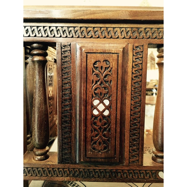 Moroccan Style Hand Carved Wooden Corner Chair For Sale In Los Angeles - Image 6 of 8