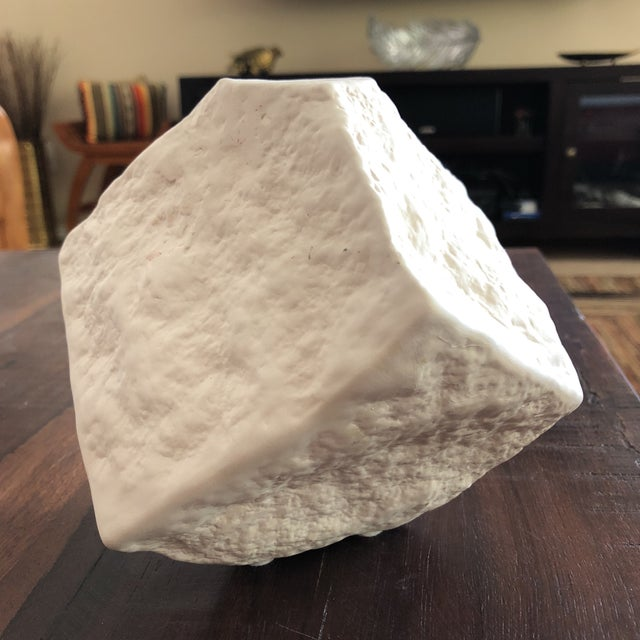 White Modern Organic Abstract Matte White Stone Finish Vase For Sale - Image 8 of 12