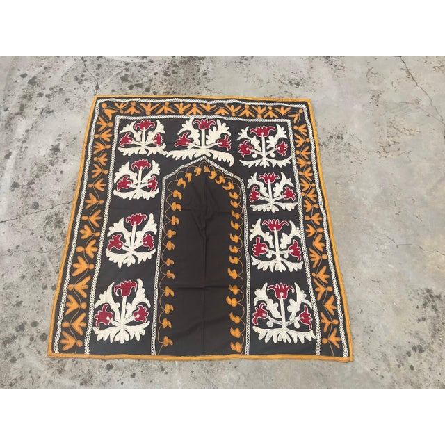 "Black Traditional Tablecloth / Antique Suzani Tapestry - 3'9"" x 3'5"" For Sale - Image 8 of 8"