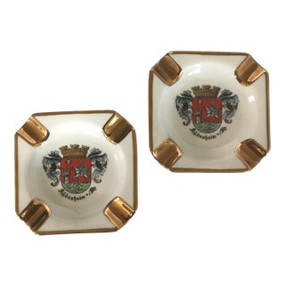 Gilded European Souvenir Porcelain Ashtrays - a Pair For Sale