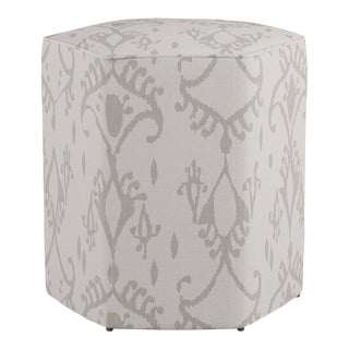 Hexagonal Ottoman in Ikat In Grey For Sale