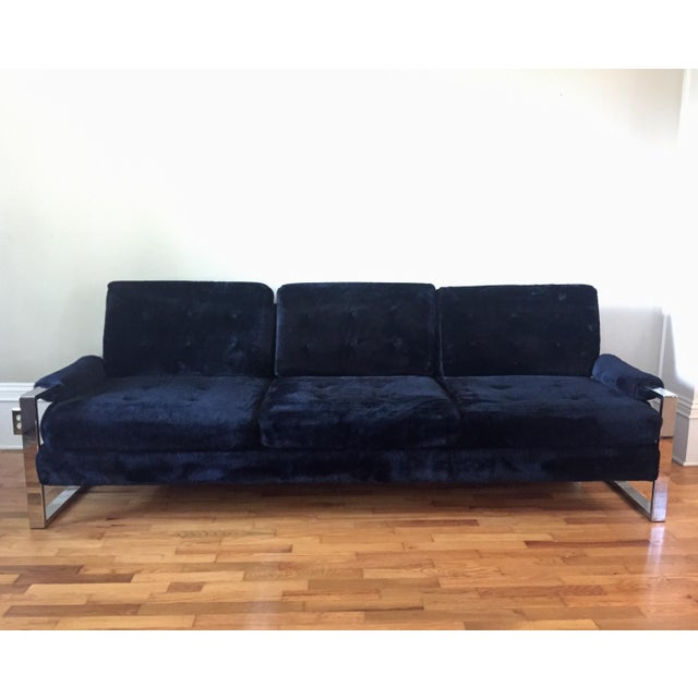 Milo Baughman Style Chrome Flat Bar Sofa - Image 2 of 10