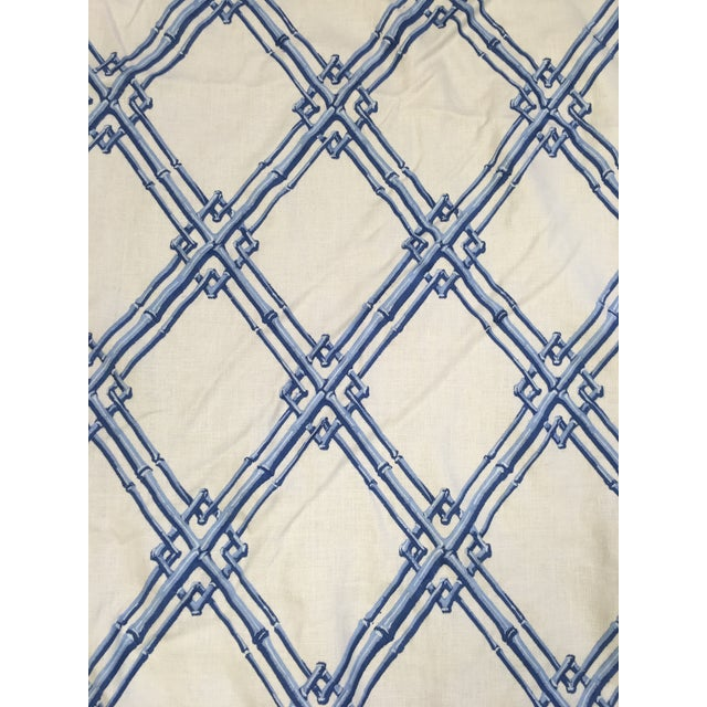 2010s Brunschwig & Fils Bamboo Trellis Blue Fabric For Sale - Image 5 of 5
