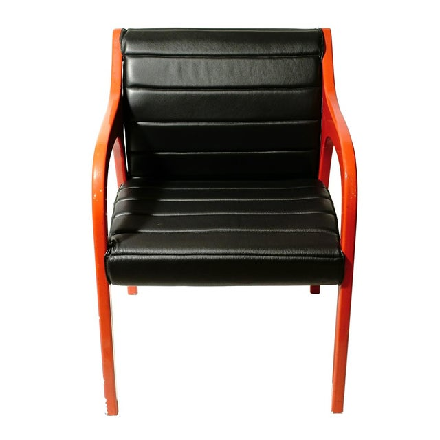 Mid-Century Modern Claudio Salocchi Leather Armchairs - A Pair For Sale - Image 3 of 5