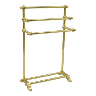 Vintage Solid Polished Brass Victorian Style Bathroom Towel Rack Stand Holder Gold