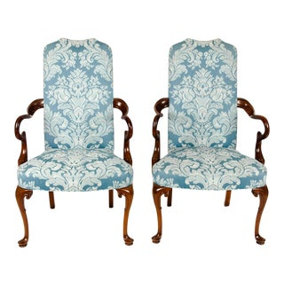 Pair of Mahogany Framed Side Armchairs For Sale