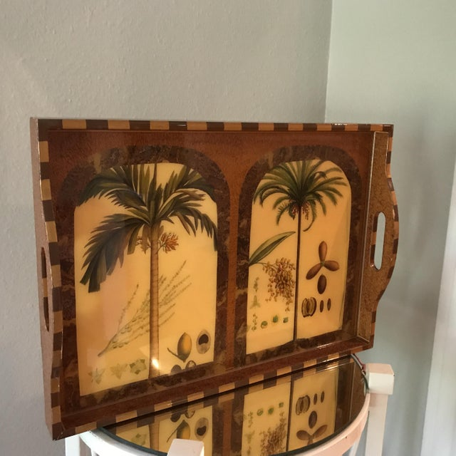 Elegant Palm Tree Lacquered Tray signed by artist, Annie Modica. Originally purchased at Bergdorf Goodman in NYC.