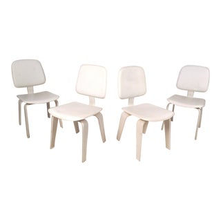 Set of Four Mid-Century Modern White Leather Dining Chairs For Sale