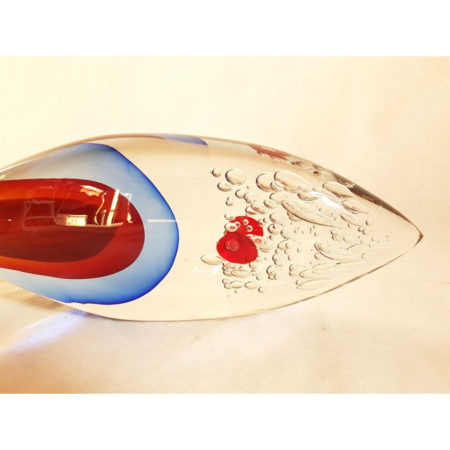 1970s Mid Century Modern Large Size Fish Sculpture in Sommerso Murano Glass by Flavio Poli For Sale In Dallas - Image 6 of 10