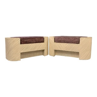 Mid-Century Split Reed Bamboo Upholstered Benches- A Pair For Sale