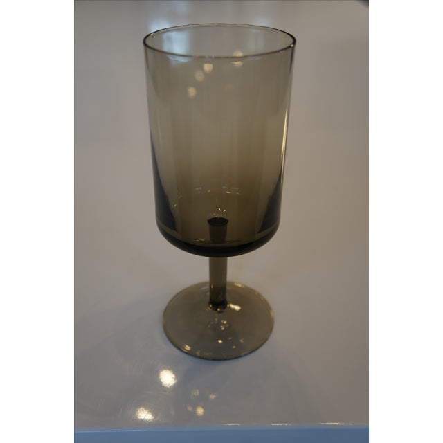 Mid-Century Smoke Glass Wine Glasses - Set of 12 - Image 5 of 8