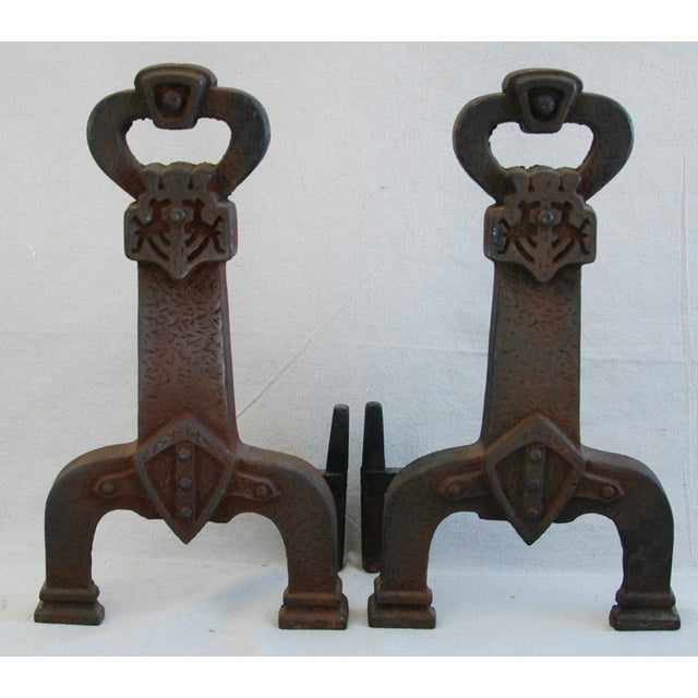 Country 1920s Sheffield New York Fireplace Andirons - Pair For Sale - Image 3 of 11