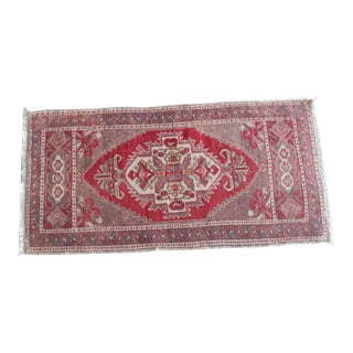 Hand Knotted Door Mat, Entryway Rug, Bath Mat, Kitchen Decor, Small Rug, Turkish Rug 1′8″ × 3′5″ For Sale