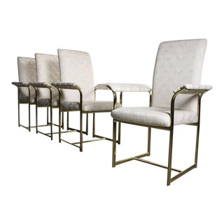 Set of Four Brass Dining Chairs Attributed to Milo Baughman For Sale
